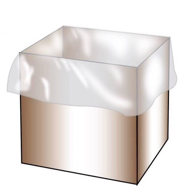 ถุงรองก้นกล่อง(Box Liner) แบบเผื่อความยาวปลายถุงสำหรับพับปิดปากถุง (Fold Roll Top)